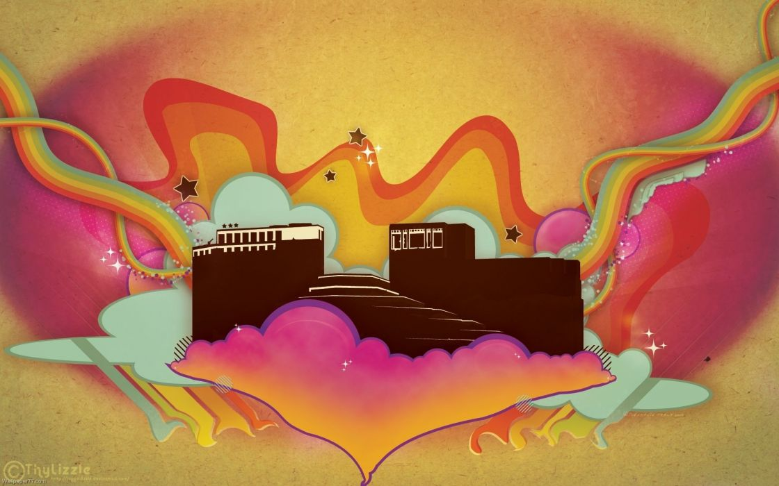 abstracto vector arquitectura castillo colores wallpaper