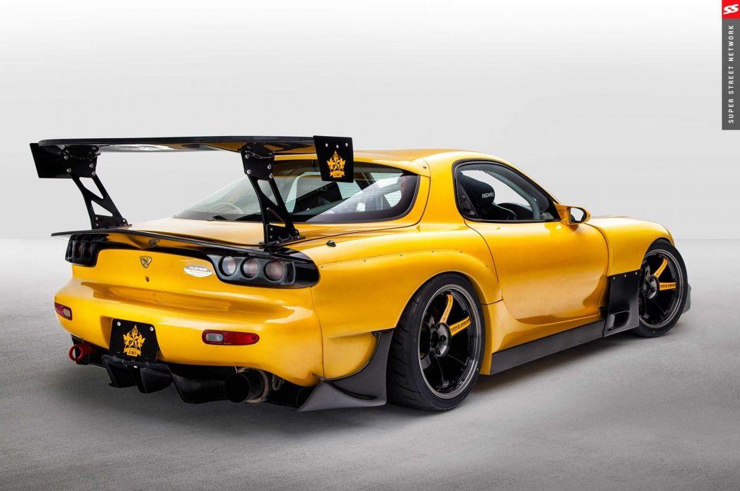 1998 mazda rx7 coupe yellow aero kit cars wallpaper