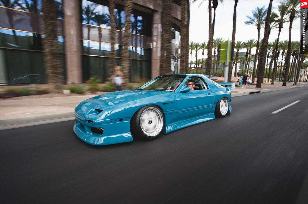 1987 mazda rx7 blue aero kit cars modified wallpaper