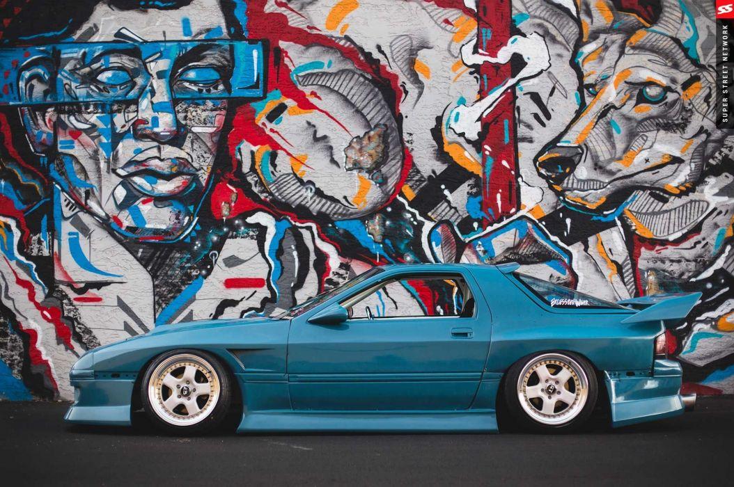 1987 mazda rx7 blue aero kit cars modified wallpaper