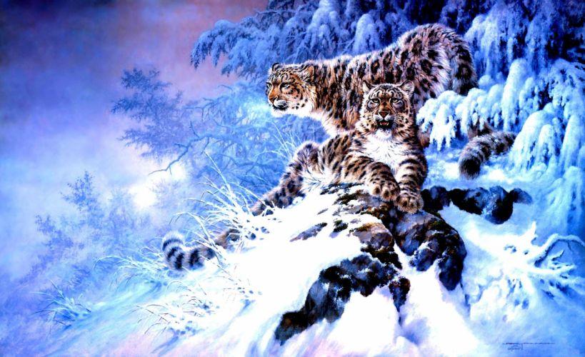 winter snow nature landscape art artwork fantasy leopard wallpaper