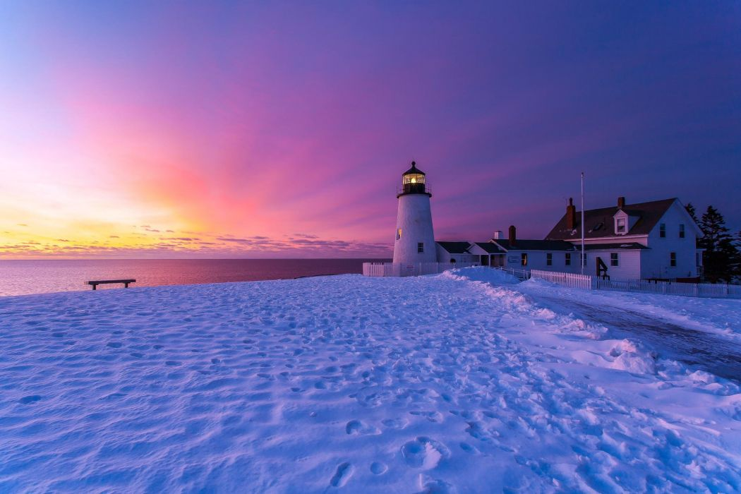 winter snow nature landscape lighthouse wallpaper
