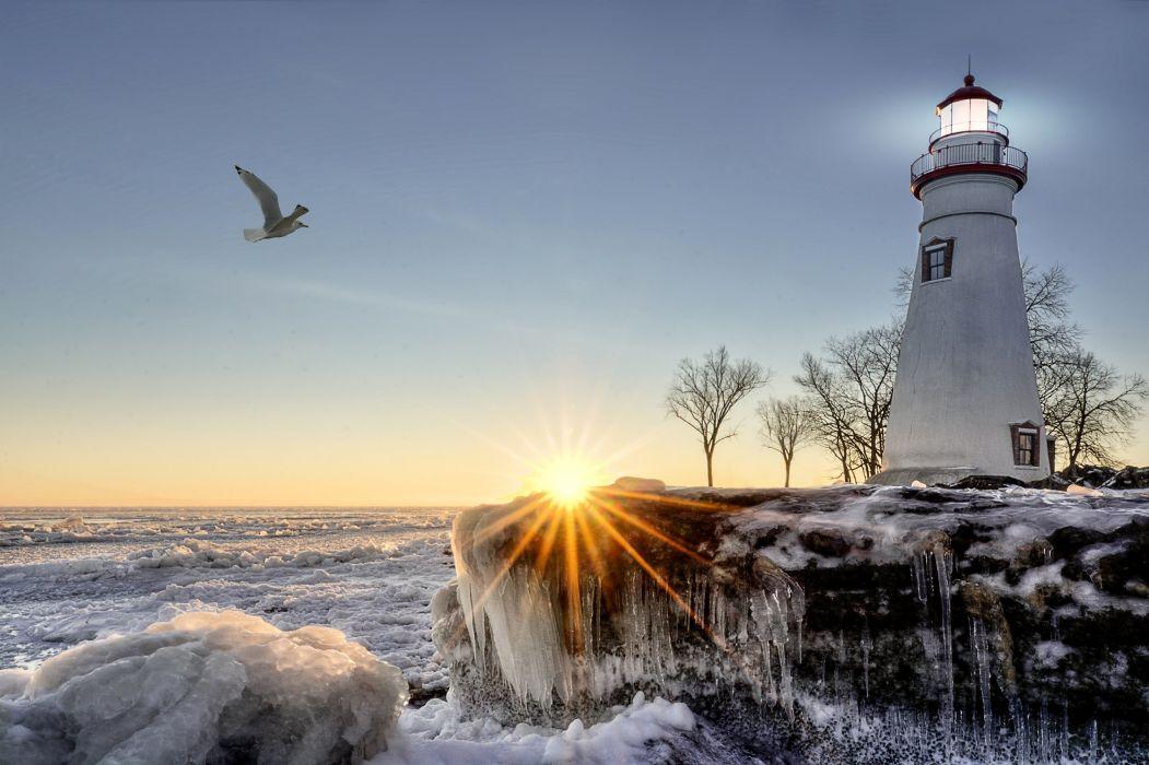 winter snow nature landscape lighthouse wallpaper