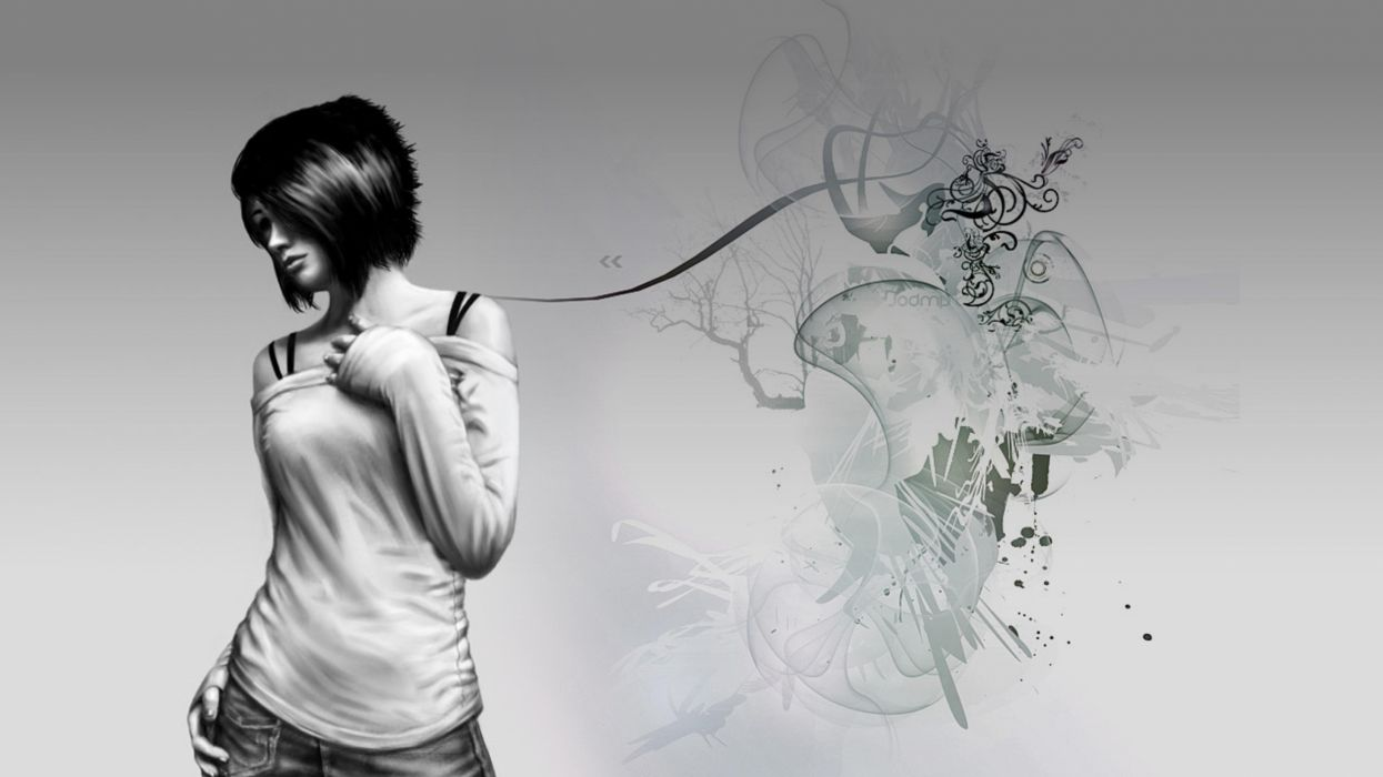 mujer abstracto blanco negro pintadas wallpaper