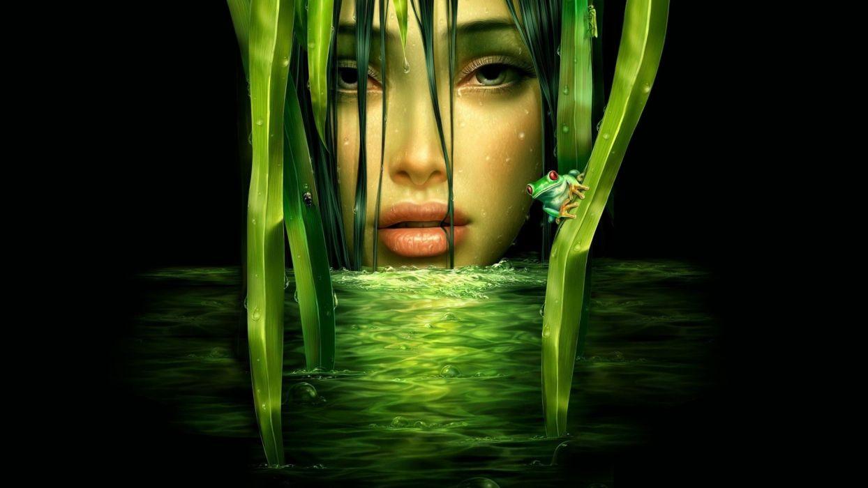 mujer abstracto agua ranita verde wallpaper