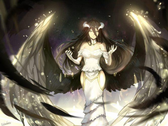 anime girl black hair choker dress feather gloves horns long hair smile wings yellow eyes Overlord wallpaper