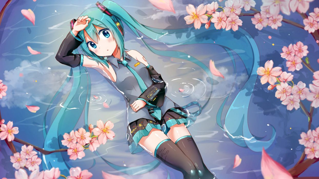 anime girl blue eyes blush green hair headphones long hair microphone sakura skirt tattoo thigh highs tie twin tails wallpaper water wet Vocaloid Hatsune Miku wallpaper