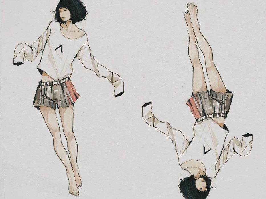 anime girl barefoot black eyes black hair short hair shorts twins wallpaper