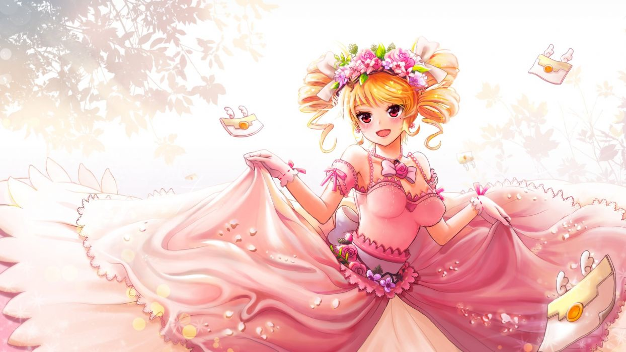 anime girl anthropomorphism beauty mark blonde hair blush curly hair dress envelope flower gloves happy headdress jewelry red eyes ribbon twin tails wallpaper