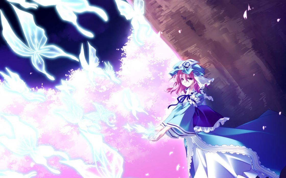 anime girl butterfly dress hat night pink hair red eyes ribbon sakura short hair sky smile tree Touhou wallpaper