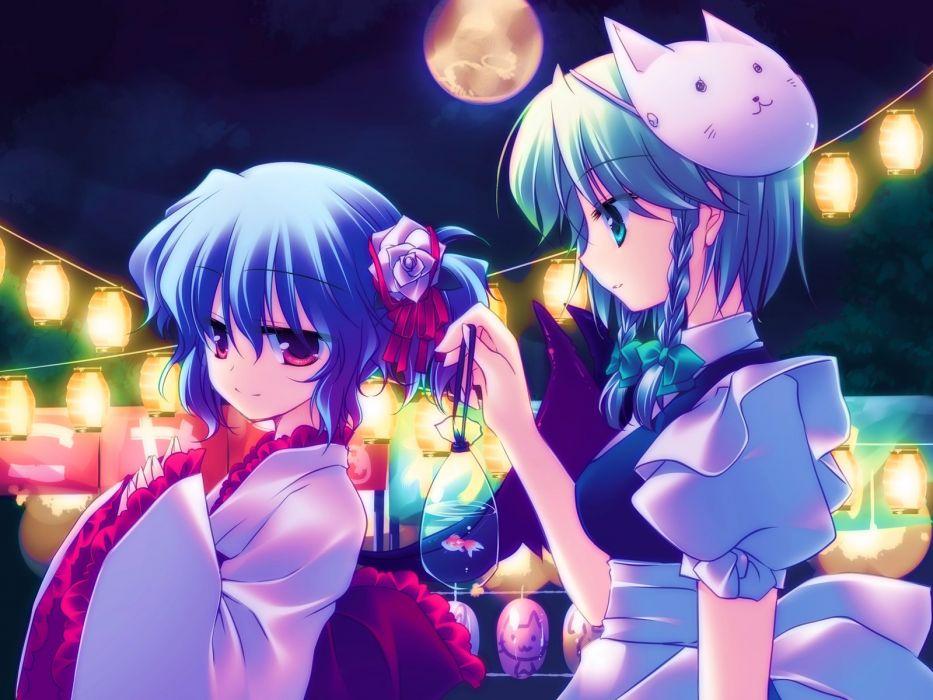 anime girl blue hair braids fish flower kimono maid mask moon night short hair side tail sky smile Touhou wallpaper