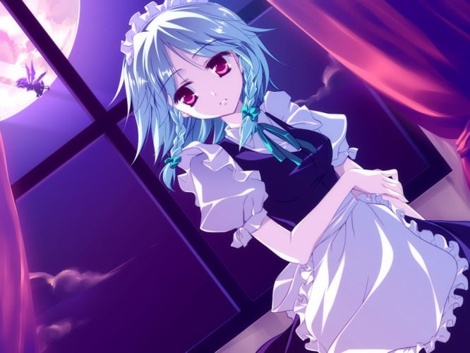 anime girl blue hair braids flying hat maid moon night short hair sky twin tails wallpaper wings Touhou wallpaper