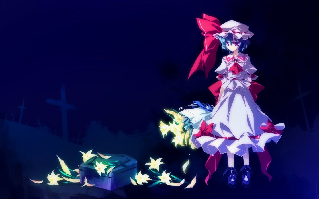 anime girl blue hair dress flower hat night red eyes ribbon short hair Touhou wallpaper