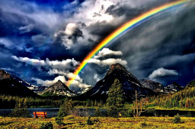 mountains landscape nature mountain tainbow wallpaper