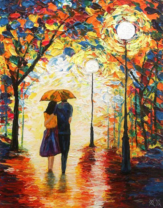 oil art colors beauty couple love tree wallpaper
