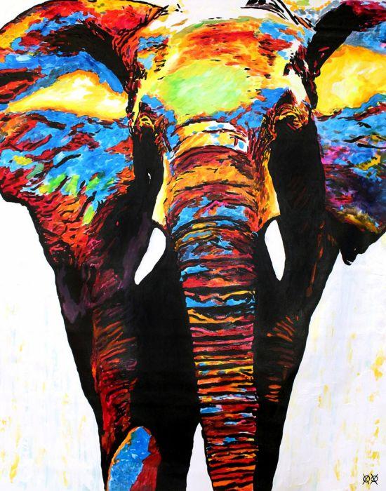 oil art animal elephant colors beauty wallpaper