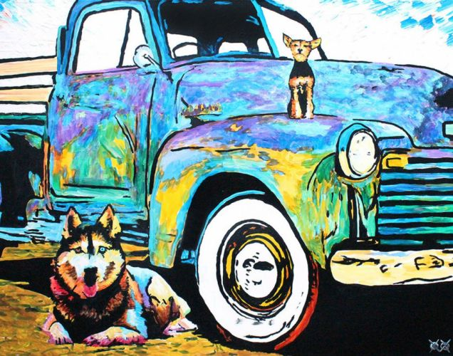 oil art animal dogs colors beauty wallpaper
