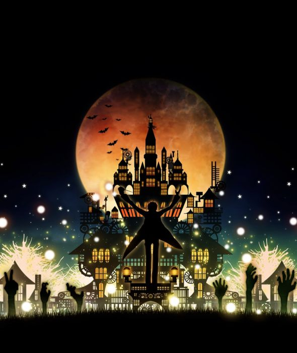 anime moon fantasy sky night house hallowen wallpaper