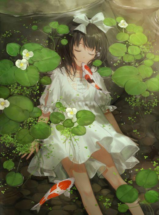 anime girl pretty beautiful long hair dress water fish animal wallpaper