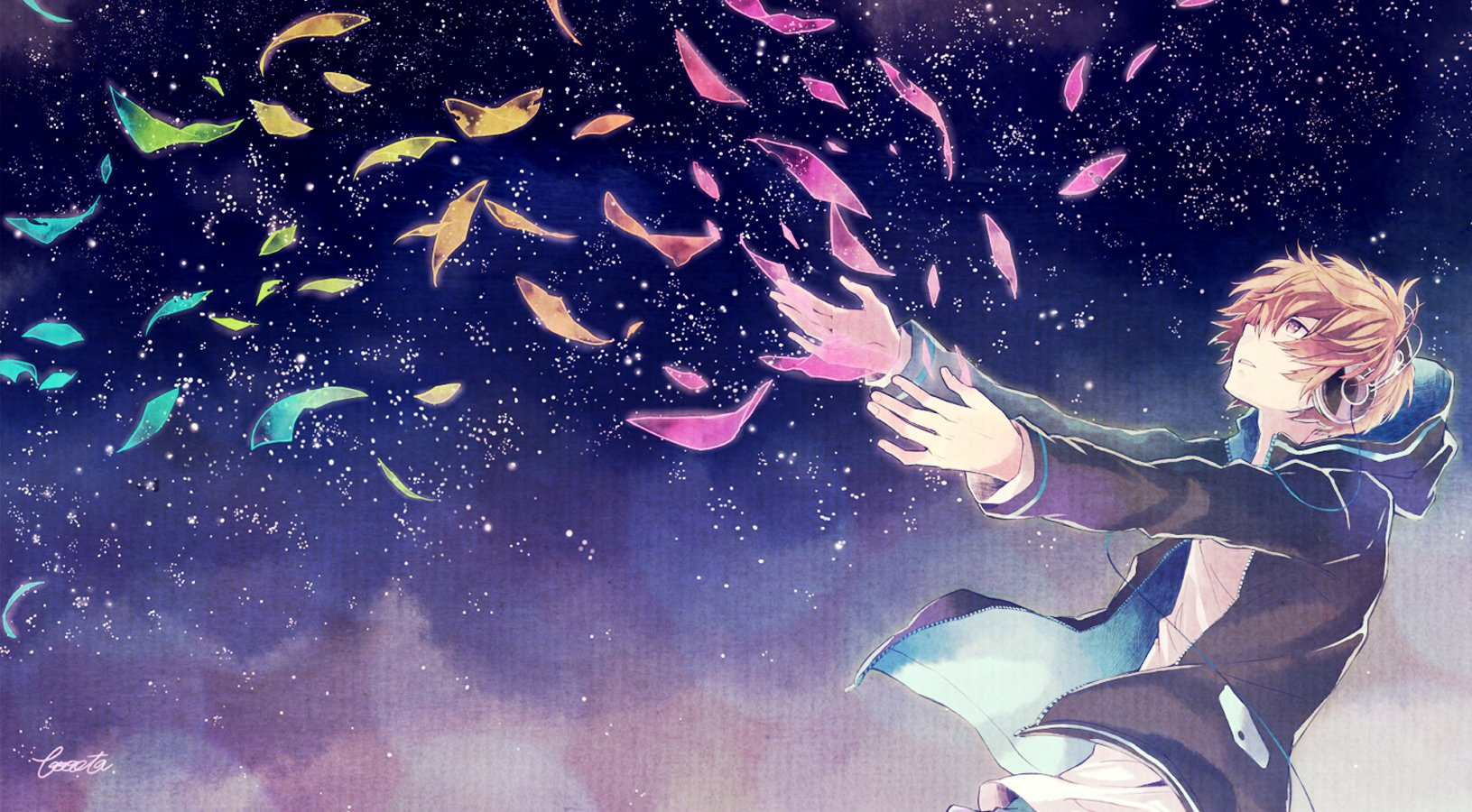 Anime Boy Sky Night Headphone Music Wallpaper