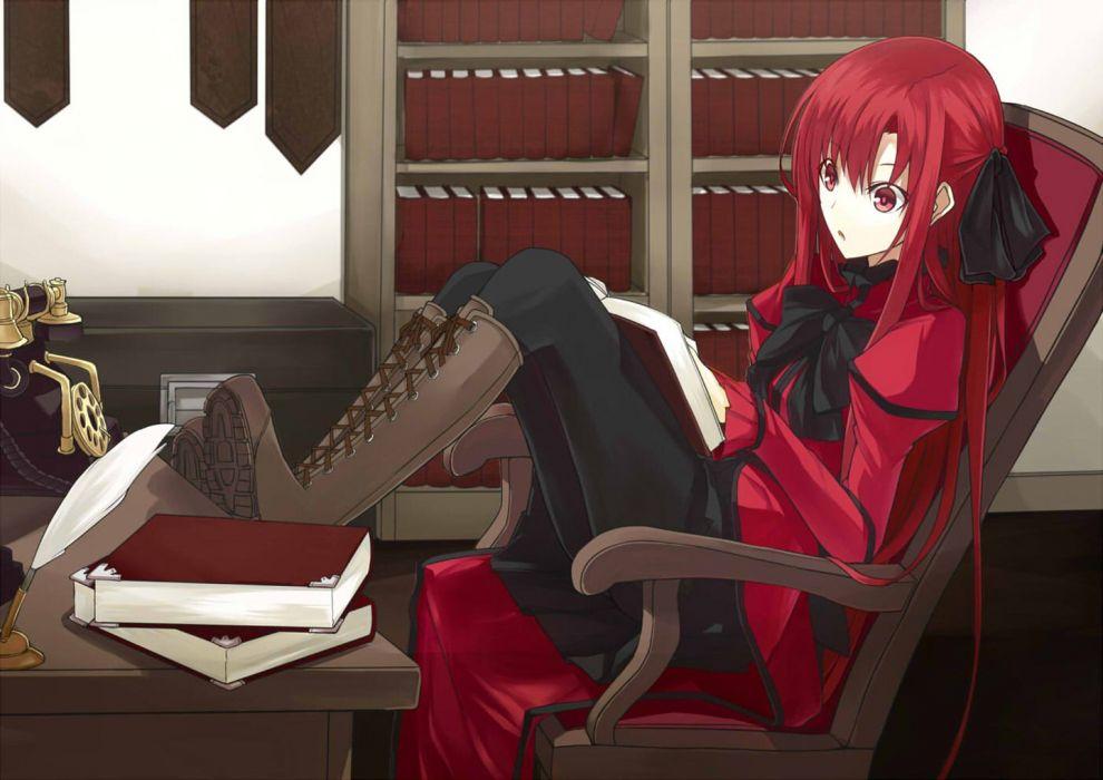 anime girl pretty beautiful long hair dress red wallpaper
