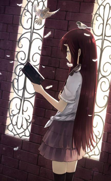 anime girl pretty beautiful long hair school uniform petals book wallpaper