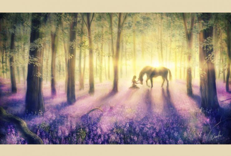 anime girl pretty beautiful long hair dress forest animal horse wallpaper