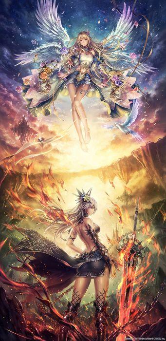 anime girl pretty beautiful long hair dress girls magic fantasy wallpaper