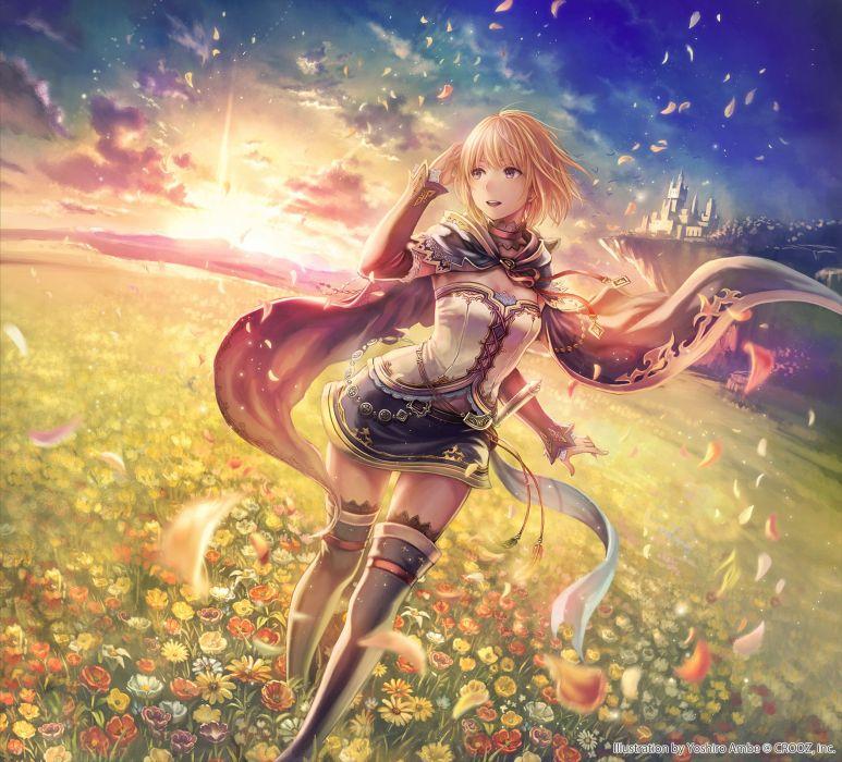 anime girl pretty beautiful long hair dress fantasy flower wallpaper