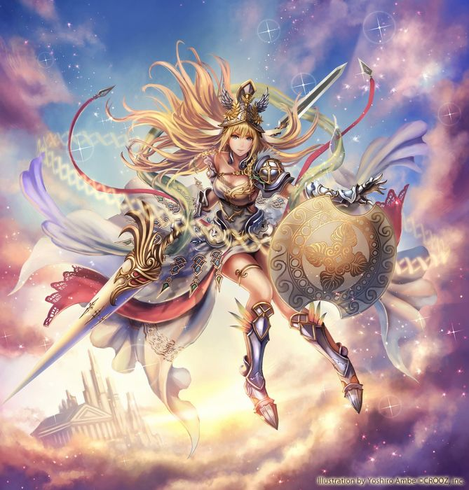 anime fantasy sky warrior girl pretty beautiful long hair dress wallpaper