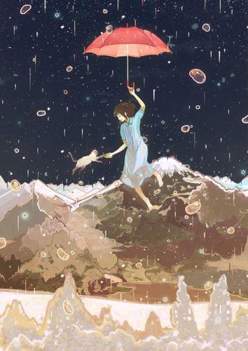 anime girl pretty beautiful short animal cat cute rain sky hair dress wallpaper