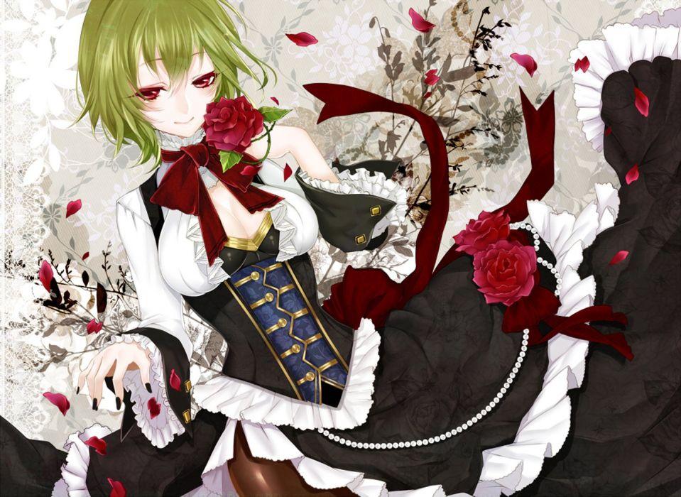 anime girl pretty beautiful short rose flower hair dress wallpaper