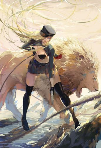 fantasy girl pretty beautiful long hair dress blonde lion sword warrior wallpaper