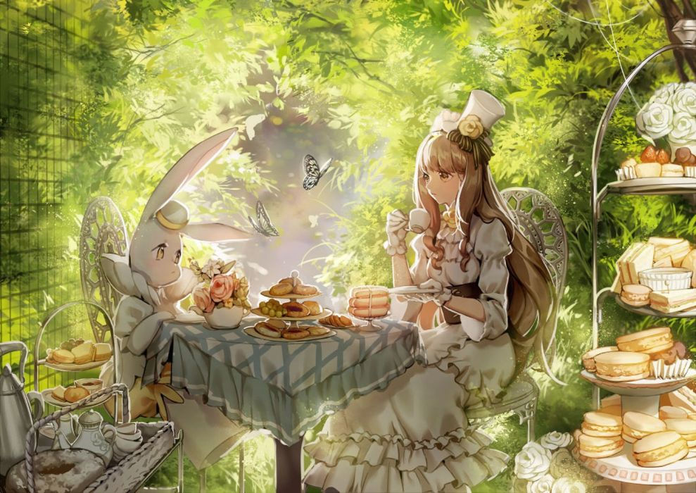 anime girl pretty beautiful long hair dress blonde animals forest alice wallpaper