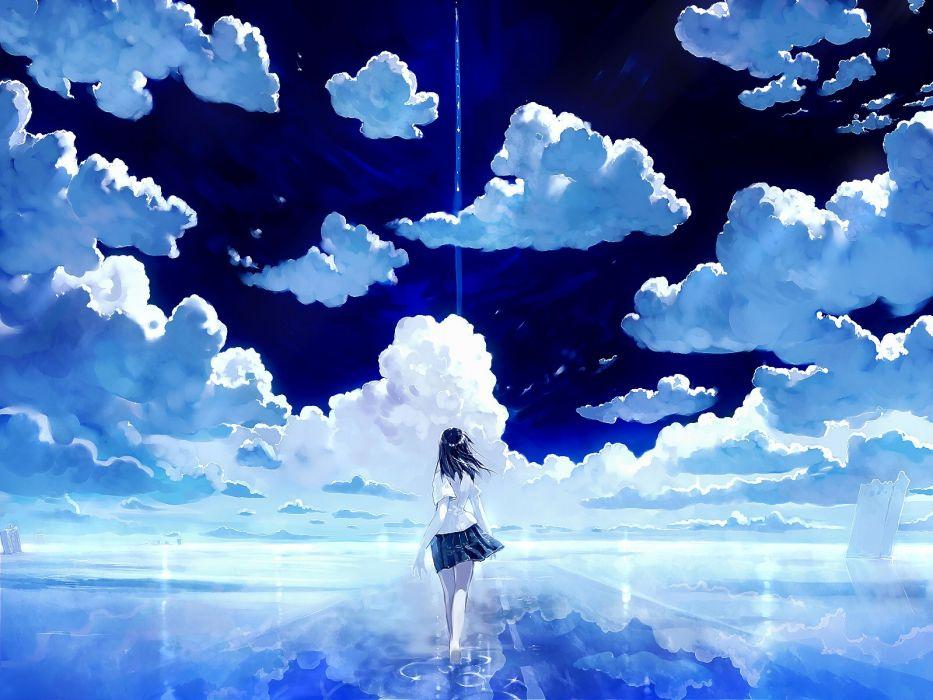 anime girl pretty beautiful long hair school uniform sky clouds beauty wallpaper