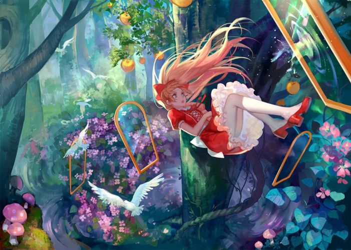 anime girl pretty beautiful long hair dress forest flower alice wallpaper