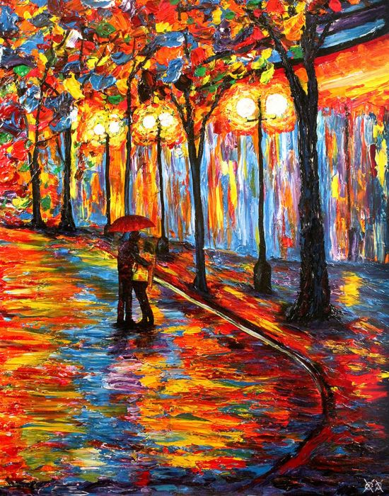 art oil original umbrella red couple love wallpaper