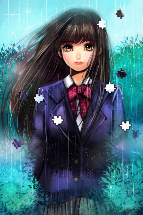 anime girl pretty beautiful long hair school uniform puzzle wallpaper