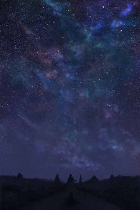 anime sky stars beauty landscape wallpaper