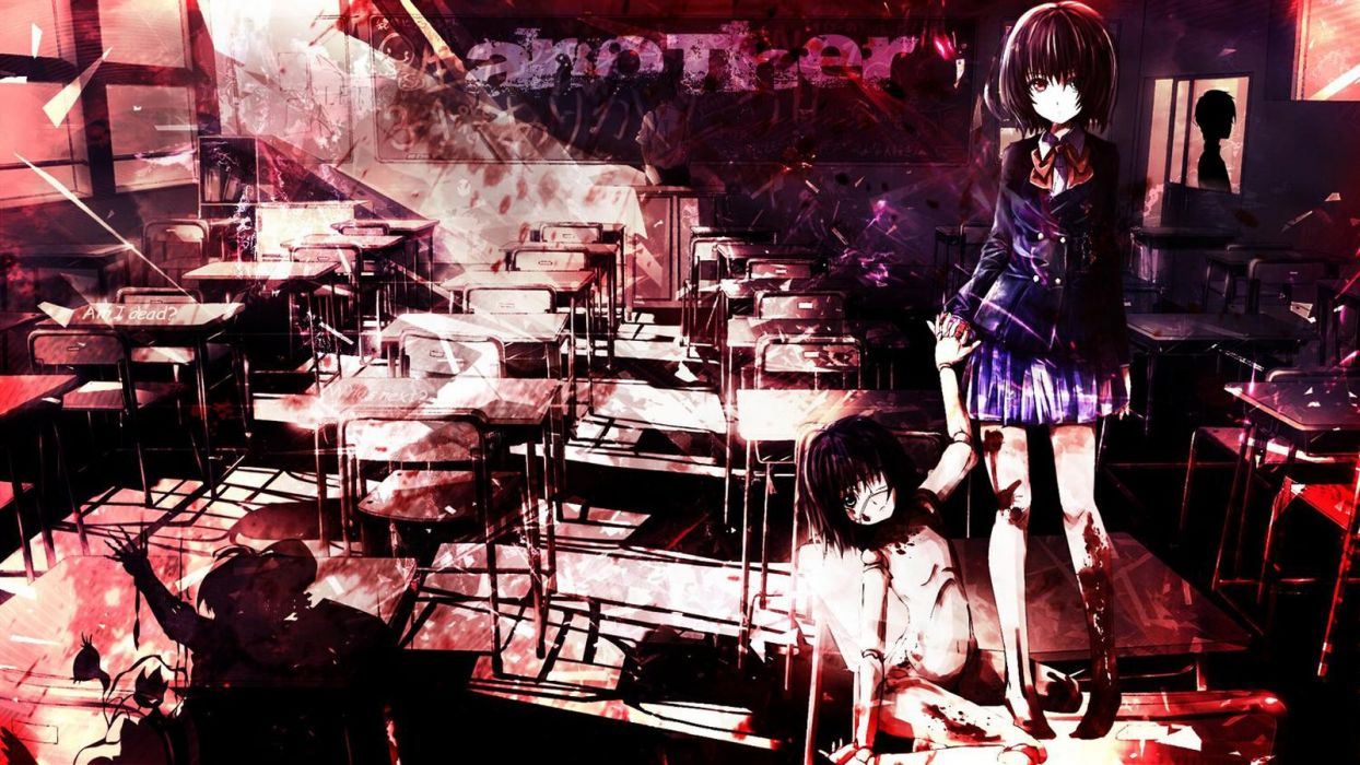anime girl pretty beautiful long hair school uniform another series wallpaper