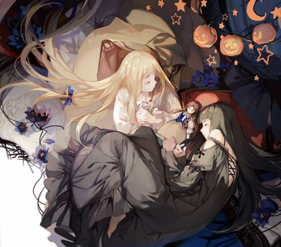 anime girl pretty beautiful long hair dress sleepy blonde wallpaper