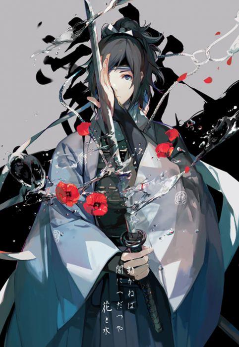 anime word warrior flower beautiful long hair dress wallpaper