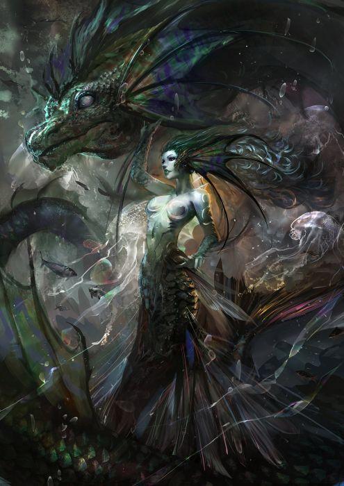 fantasy monster woman dragon wallpaper