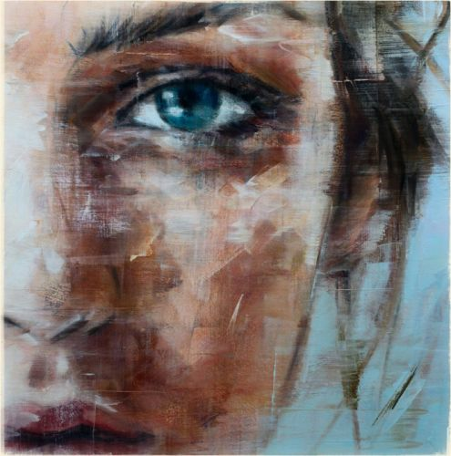 oil art woman face blue eyes painting wallpaper