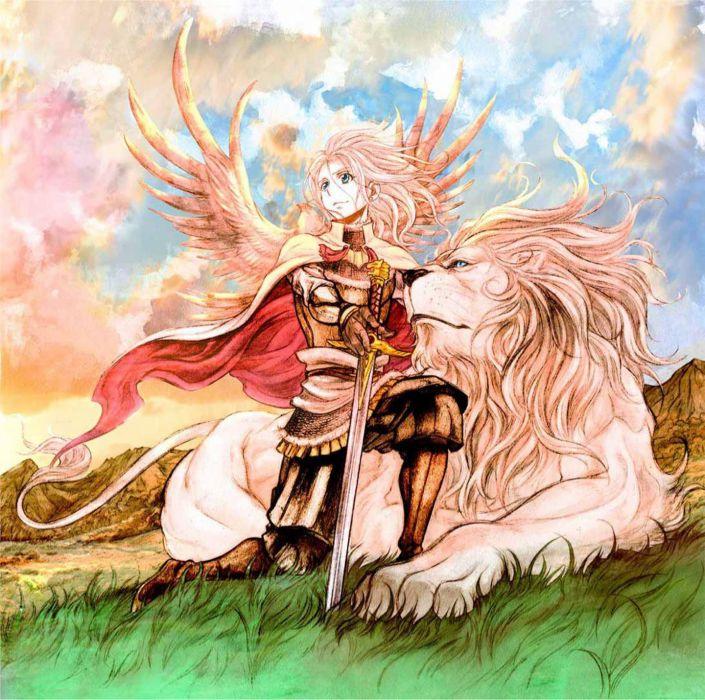 anime girl pretty beautiful long hair dress lion sword warrior wallpaper