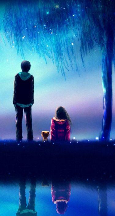 Anime Girl Pretty Beautiful Long Hair Couple Love Wallpaper