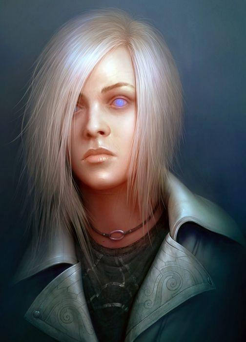 fantasy white hair dark face wallpaper