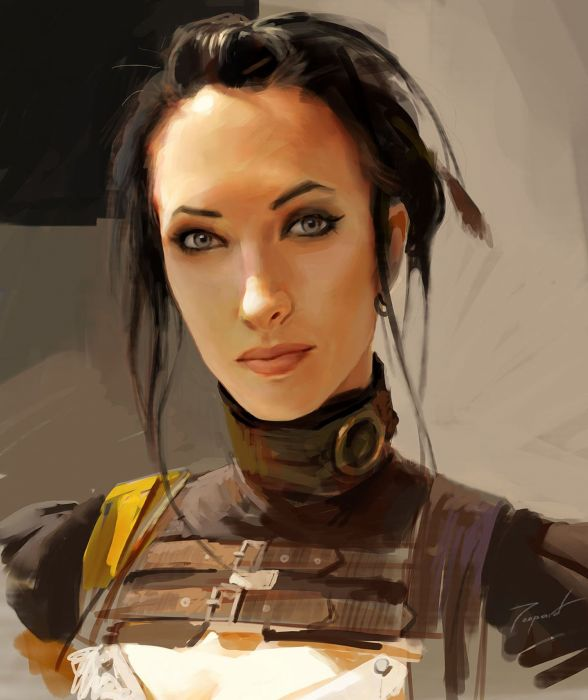 fantasy girl woman beautiful face warrior blue eyes wallpaper