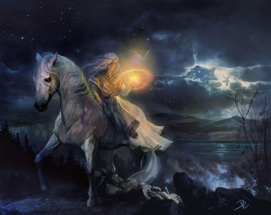 fantasy girl woman beautiful face horse witch magic wallpaper