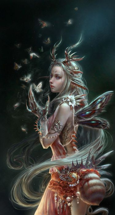 fantasy girl woman beautiful face wings butterfly wallpaper